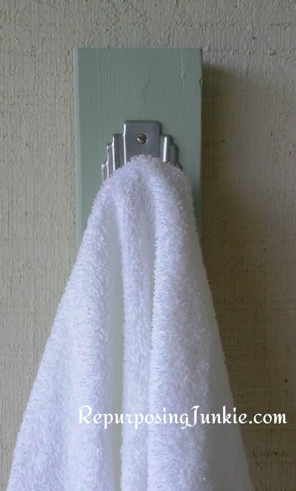 Hand Towel Rack using Repurposed Materials