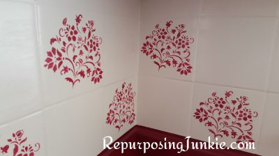 Stenciling Tile in the Kitchen