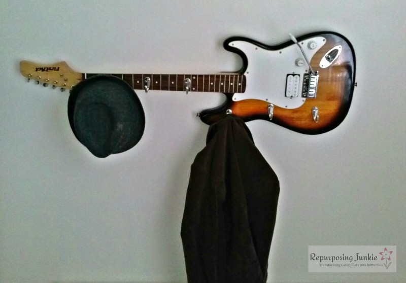 Repurposed Electric Guitar into Coat Garment Hat Rack Holder (8)