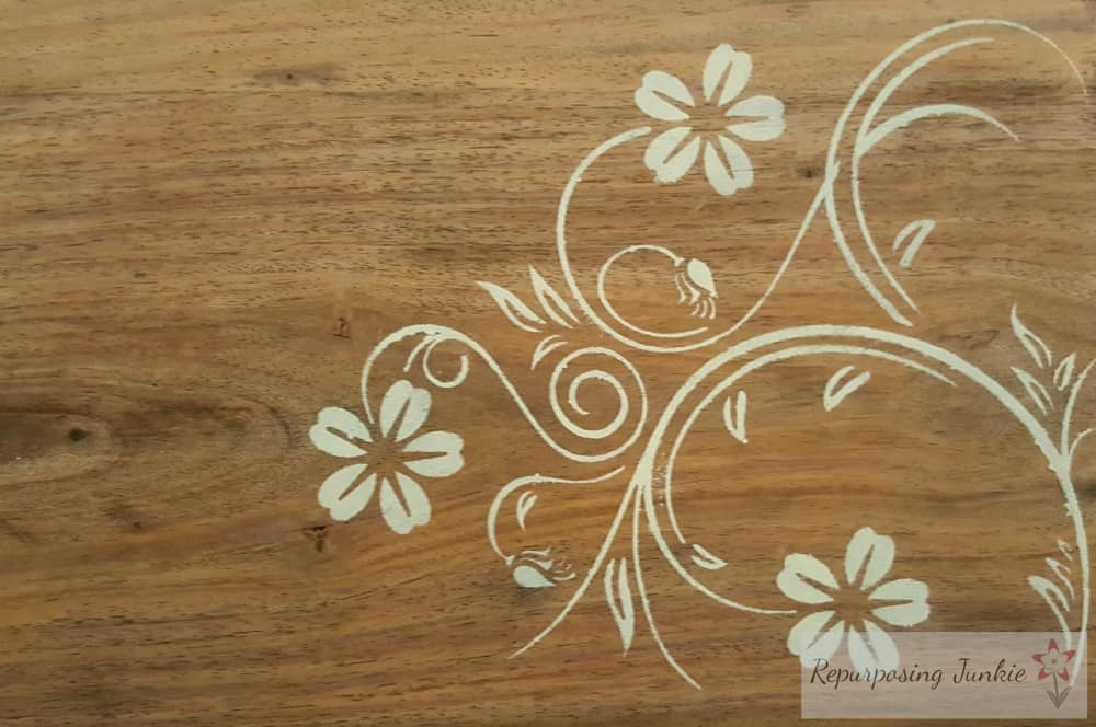 How to Stencil and Stain a Side Table
