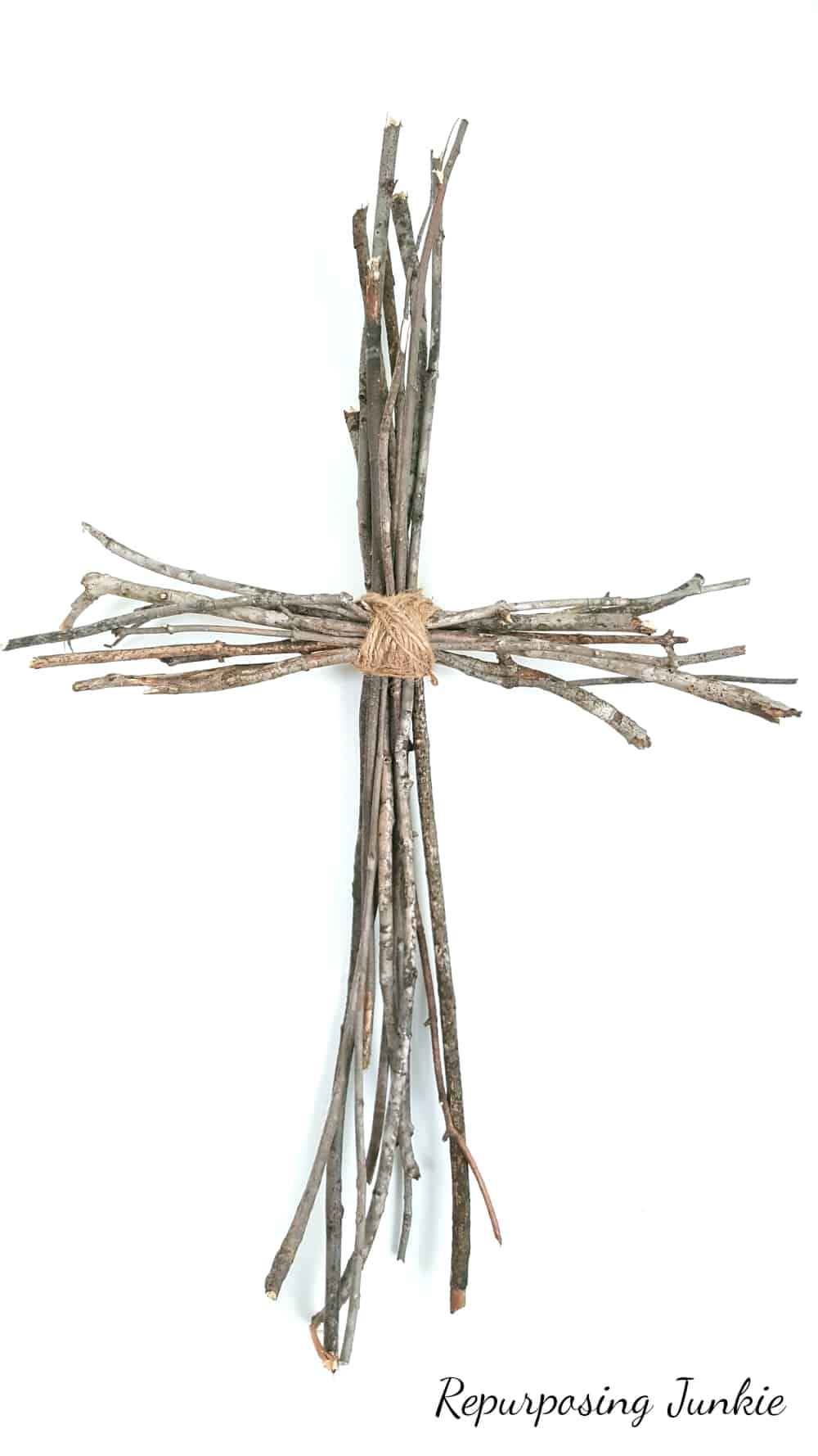 Cross made with sticks and jute twine