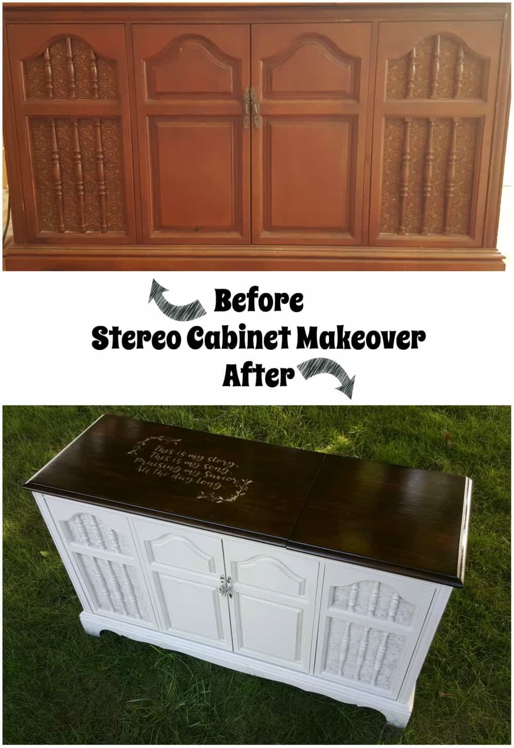 This stereo cabinet was refinished to give a vintage piece a beautiful makeover using a stencil, stain, and a little paint