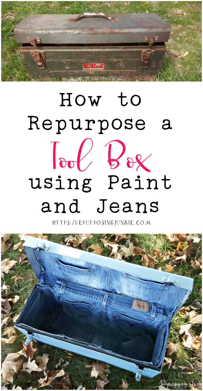 How to Repurpose a Toolbox using Paint and Jeans