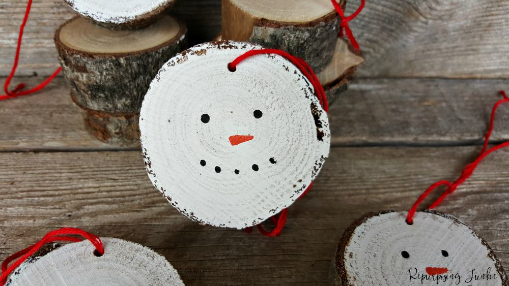 Wood Slice Snowmen Ornaments