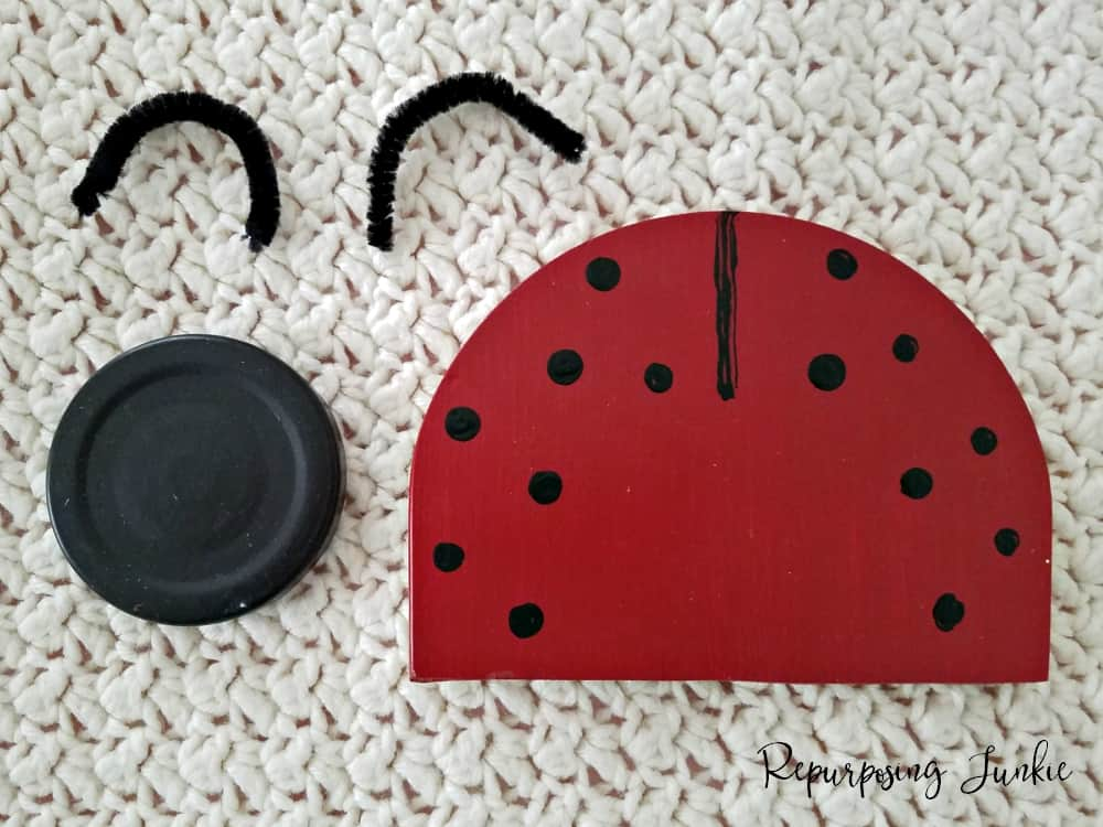 Repurposed Ceiling Fan Blade into Ladybug Wall Art +Free Cut File