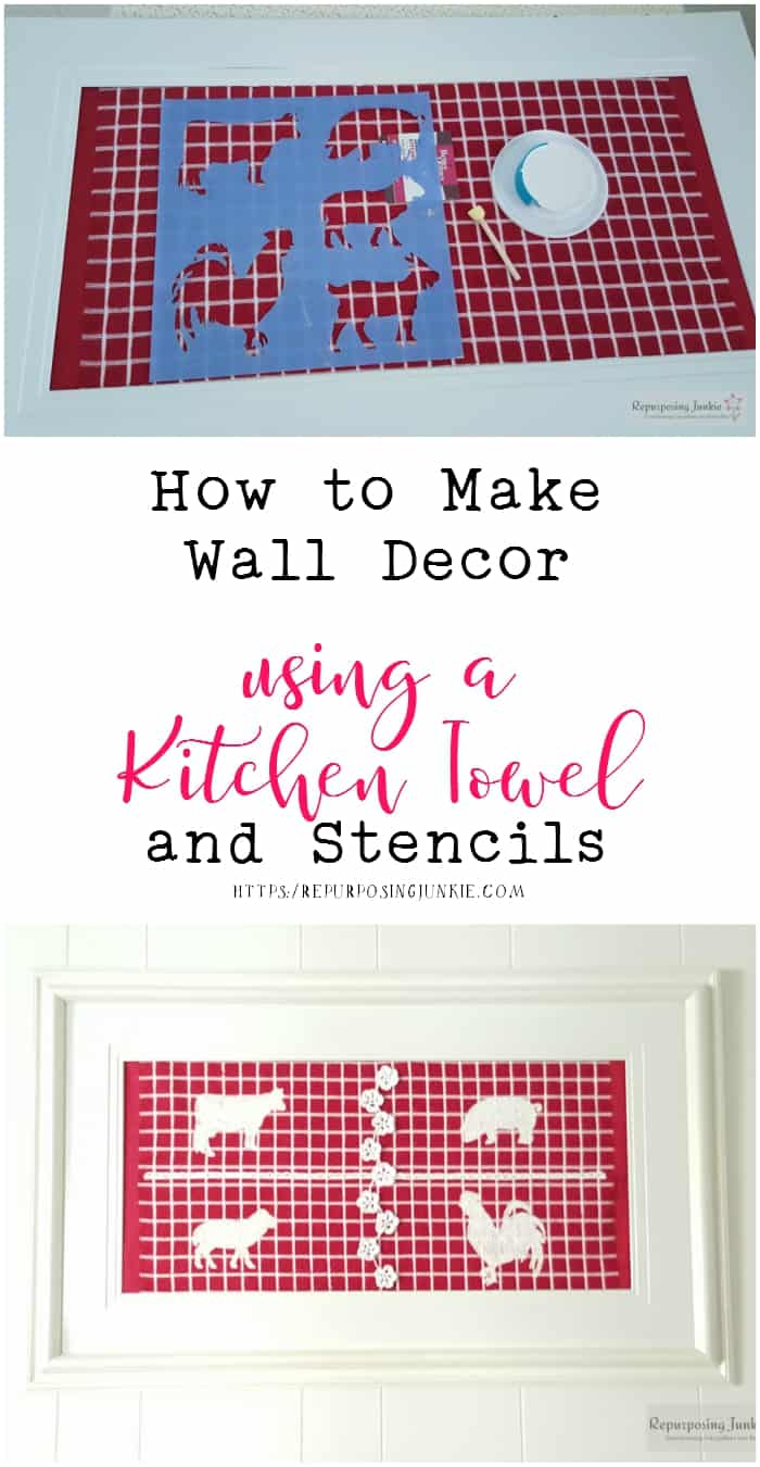 How to Make Wall Décor using a Kitchen Towel and Stencils