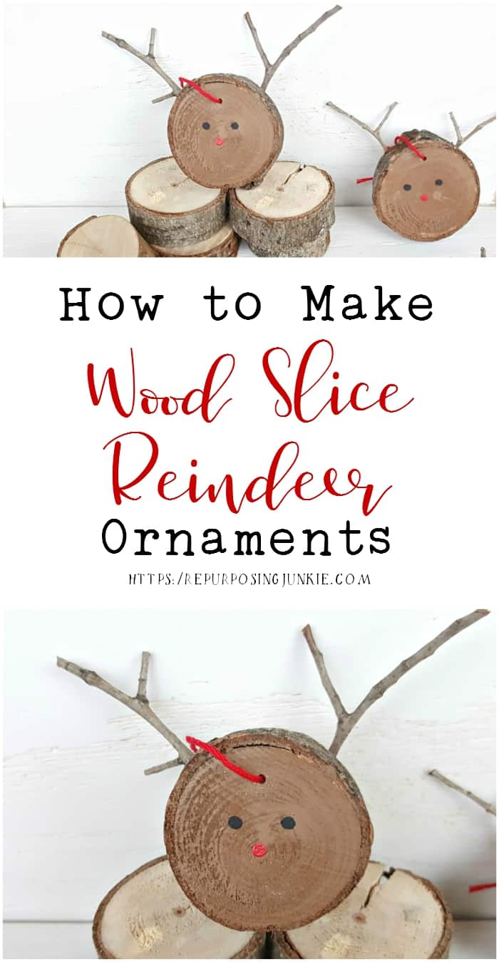 How to Make Wood Slice Reindeer Ornaments