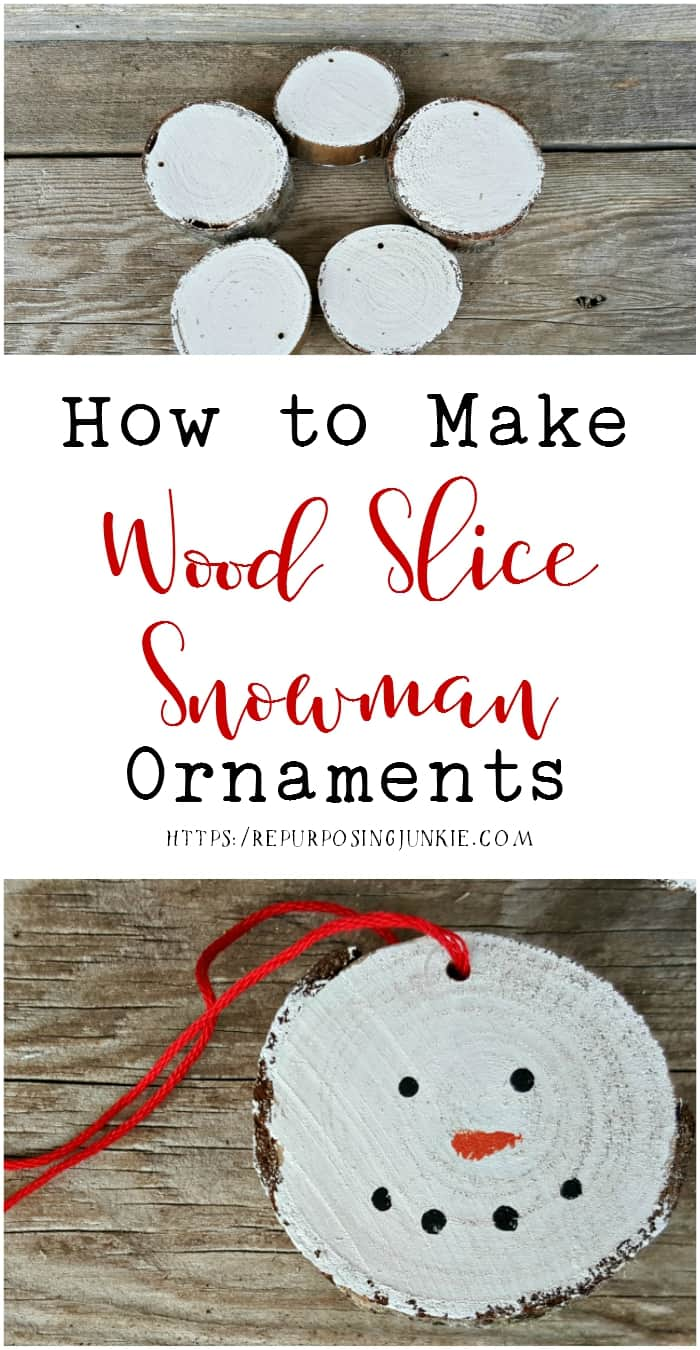 How to Make Wood Slice Snowmen Ornaments