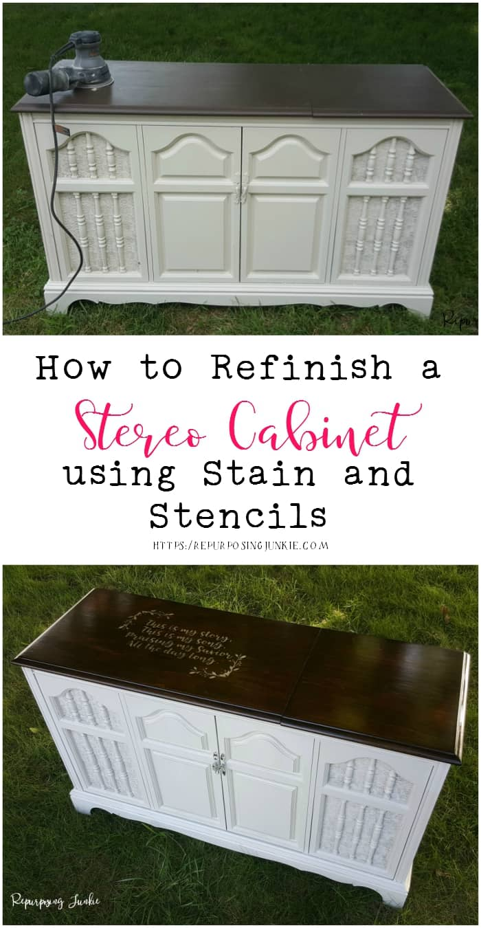 How to Refinish a Stereo Cabinet using Stain and Stencil