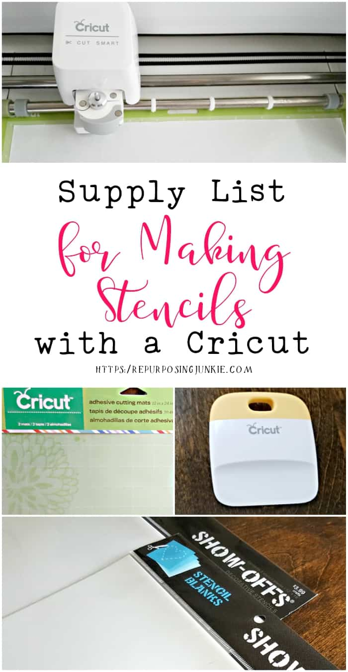 Supply List for Making Stencils with a Cricut Explore