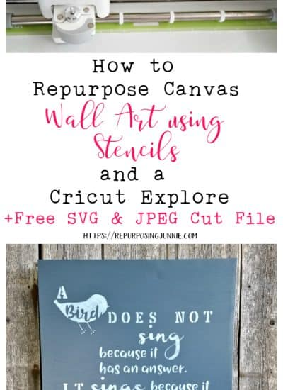 How to Repurpose Canvas Art with Stencils and a Cricut Explore