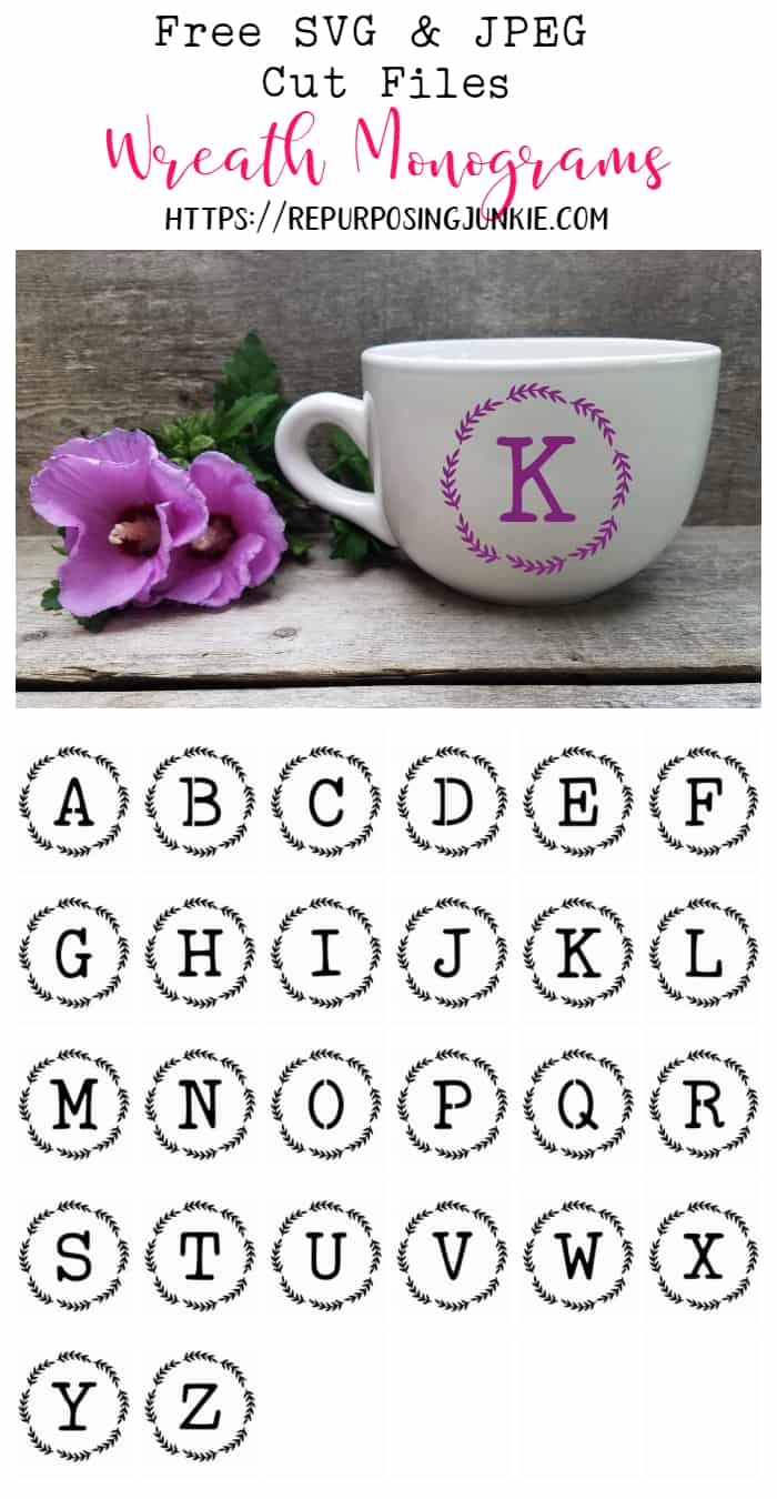 Free Svg And Jpeg Initial Alphabet Wreath Cut Files Repurposing Junkie
