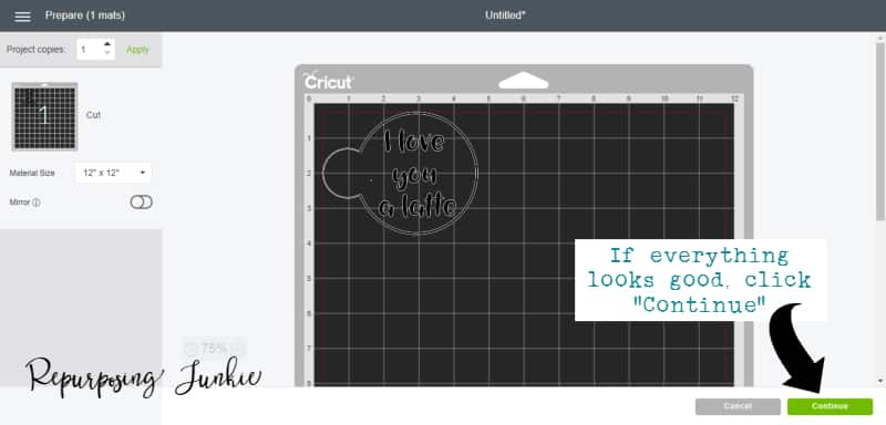 Follow instructions to finish your cuts in Cricut Explore