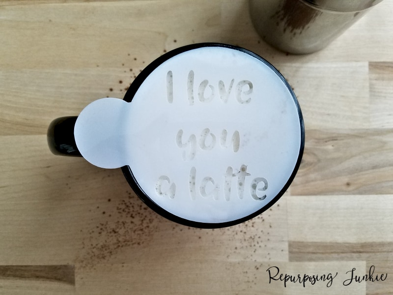 Coffee stencil on cup