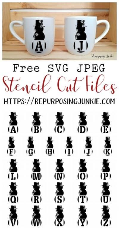 Free SVG Snowman Snowflake Initial Monogram Stencil Cut Files