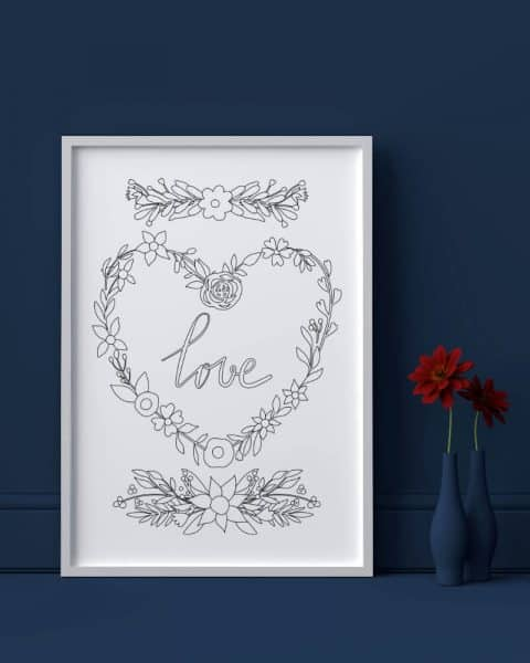 Love heart flowers valentines day printable adult coloring page 1