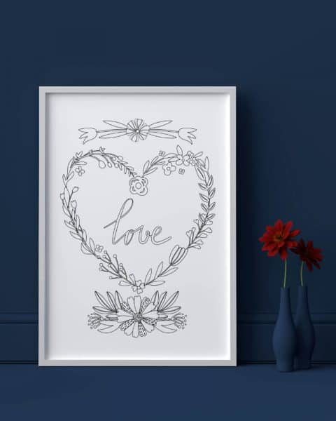 Love heart flowers valentines day printable adult coloring page 2