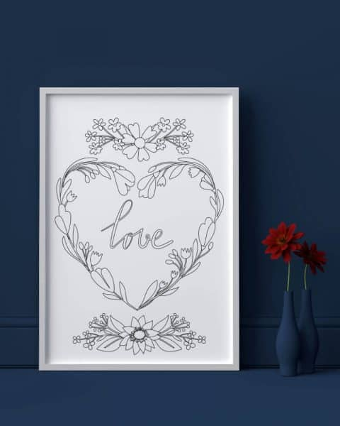 Love heart flowers valentines day printable adult coloring page 3