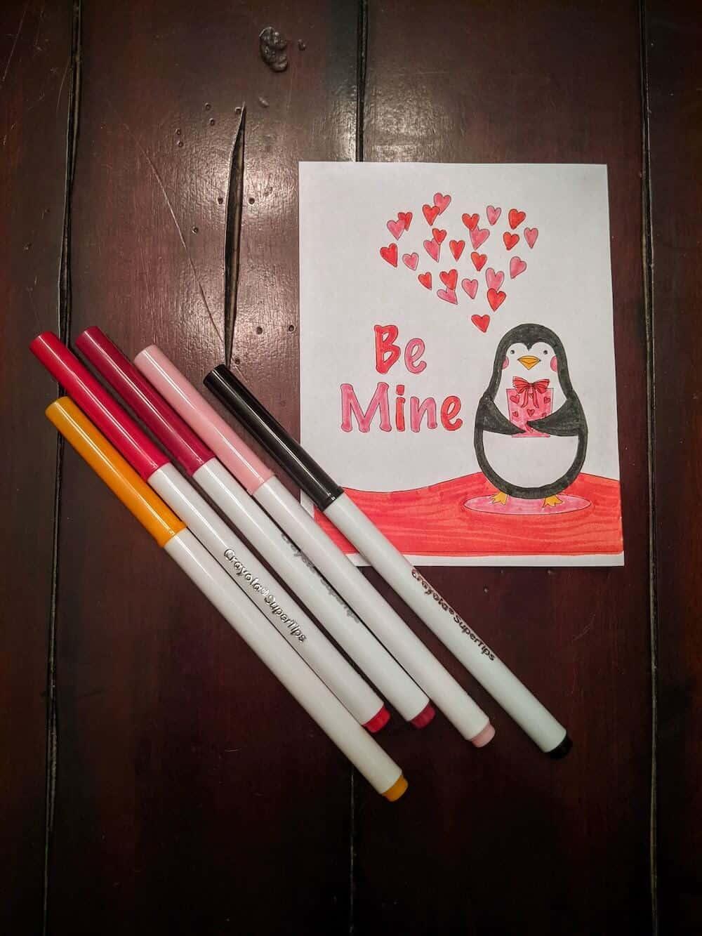 Penguine Valentie's Day card saying