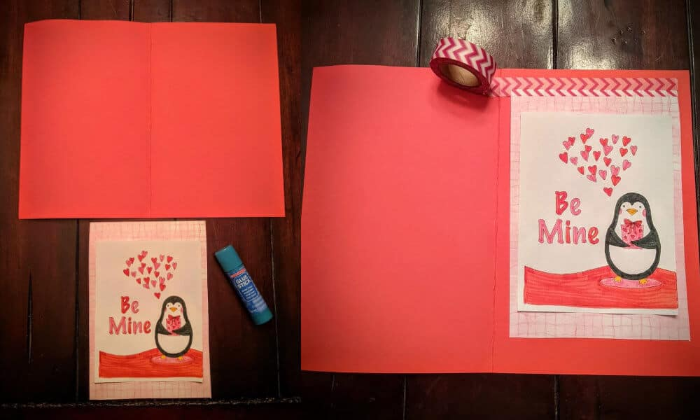 Adding washi tape to the Valentie's Day penguin card