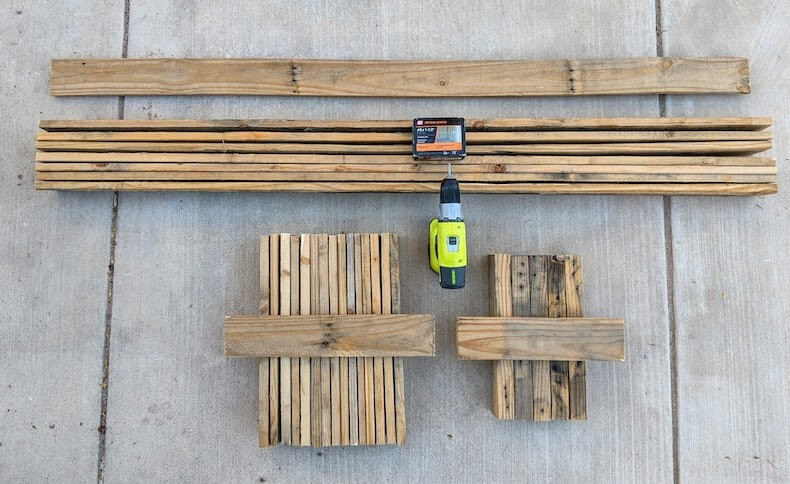 cut pallet wood pieces for raised bed garden