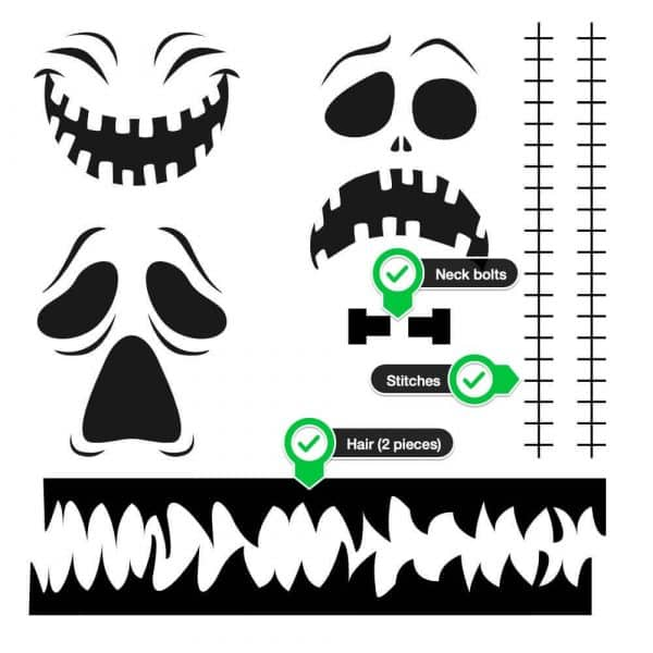 Cricut Halloween pumpkin ghost Frankenstein face project