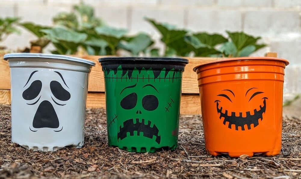 Halloween pots colorful pumpkin, ghost, Frankenstein how to make decorations
