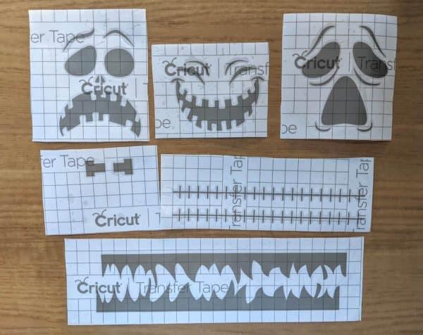 Halloween faces Cricut removeable vinyl stickers prepped