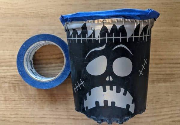 Frankenstein plastic pot Cricut removeable vinyl application